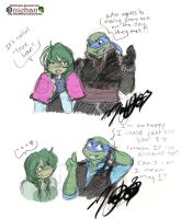 TMNT Frozen - Leo and NiNi by nichan