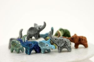Colorful elephants by hontor