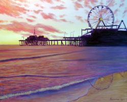 Sunset over Santa Monica Pier 2 by Landscapist
