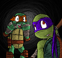 Mikey and Donnie - look out bro! by MetaLatias5