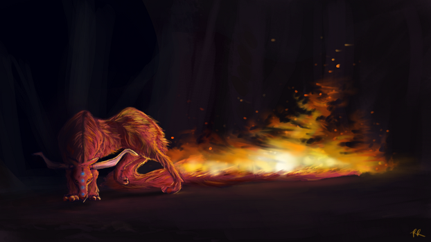 Sketch V: Fire Creature by Khrestos