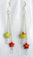 Paper Star Earrings by lavadragon