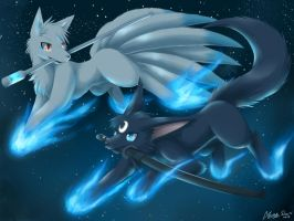 Black Magic Fox vs White Fairy Fox by AKamihara