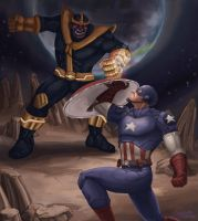 Captain America Vs. Thanos by Aerowan