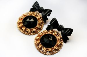 Black Czech Glass and Gold Frame Earrings by asunder