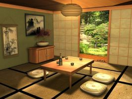 Traditional Japanese Room by Fizzingwhizbee5