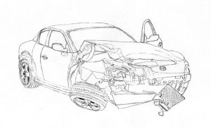 Crashed RX-8 lineart by Lew-GTR
