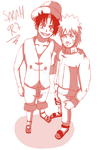 Sketch Luffy and Naruto Friends by Sarah927