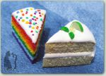 Polymer Clay Lime and Rainbow Cake by Talty
