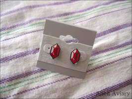 Red Rupee Earrings by alienaviary