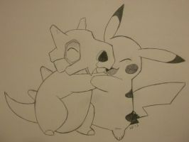 Cubone hugs Pikachu...It's Super Effective! by animenerd22