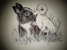 Bunny and Ducky kiss by MelodicInterval