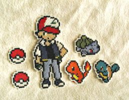 Ash, Original Starters, Pokeballs Cross Stitch Set by agorby00