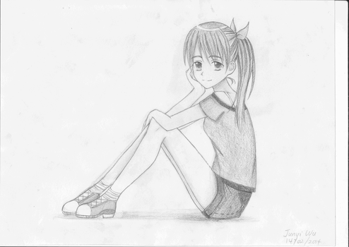 Manga Girl Sitting Pose by anime-lover12345