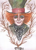 Mad Hatter Watercolor by c0rkydawL