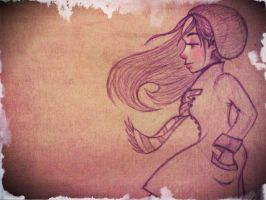 Windy days - Illustration friday - Lonely by Emmi-Lou-Art