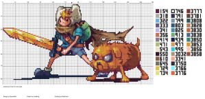Adventure Time Finn and Jake Cross Stitch Gridded by RedFoxen