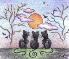 Halloween Cats by Spiralpathdesigns
