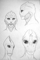 Drell and Salarian Practice by ConnieCamaro