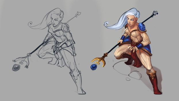 Mage Sketch - From rough line work 2 final product by VictorLafaye