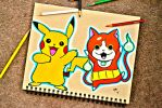 Pikachu (Pokemon) and Jibanyan (Yokai Watch) by minidynz