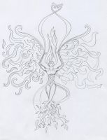 Phoenix lady tattoo sketch by Cwylldren