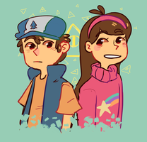 Dipper and Mabel by PastelWing