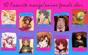 My Top 10 Favorite Female Anime/Manga Characters by GreenwavesInactive