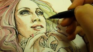 Lady Gaga - bad watercolor romance by Manidiforbice