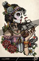 Day of the dead rib tattoo Rebecca by Sam-Phillips-NZ