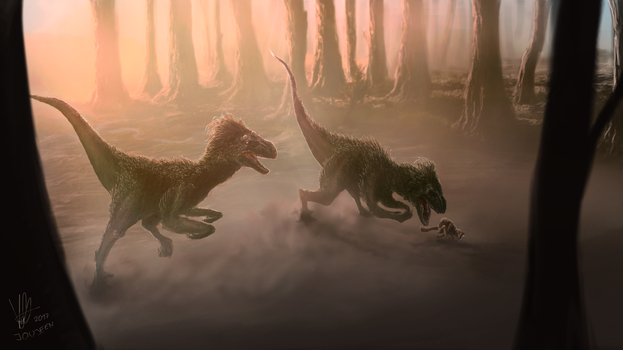 Two Raptors Hunting (COMMISSION) by Joujeen