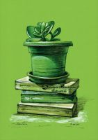 Crassula and books by dh6art