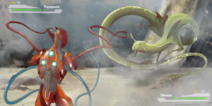 Deoxys vs Rayquaza by AaronShae