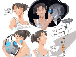 portal2 Chell by biggreenpepper
