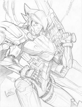 Overwatch Pharah pencils by SaviorsSon