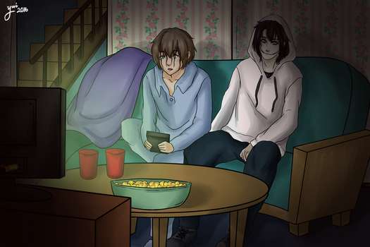 Sam and Jeff watching the tv by CamyWilliams9