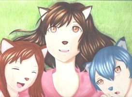 Wolf Children and mother by japanindisguise