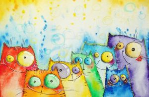 Rainbow cats by bemain