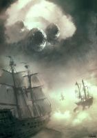 3 Headed Dragon Vs Flying Dutchman And His Friends by Juhupainting