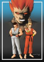 Street Fighter Ryu,Ken and Akuma by claudineiart