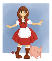 a girl and her pig by kennasaur