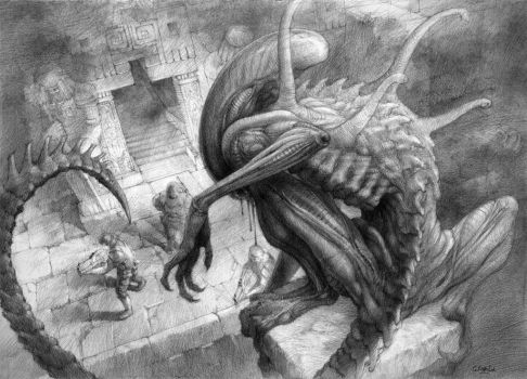 Alien drawing. My composition. Oldie by gkorniluk