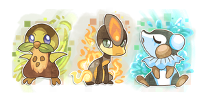 Fakemon starters! by griffsnuff