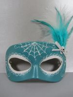 Day of the Dead teal masquerade mask by maskedzone