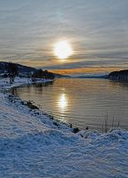 Winter Sunset over the Lac de Joux by artamusica