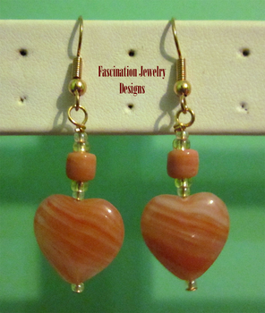 Coral Heart Earrings by BloodRed-Orchid