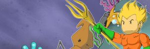 Aquaman Scribblenauts Unmasked Banner by Cannibal-Cartoonist