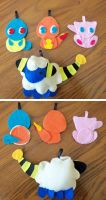 Pokemon felt keychain thingies by The-EverLasting-Ash