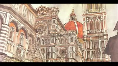 Florence WIP : from sketch to watercolor by takmaj