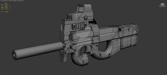 P90 low poly WIP by DemonLordHakubi
